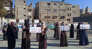 بالصور: وقفة احتجاجية لمعلمي مدارس الاونروا بخان يونس